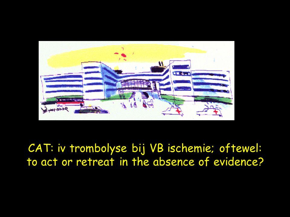 Evidence-based ingang: recente Cochrane review: thrombolysis for acute ischemic stroke, 2004; Wardlaw et al.