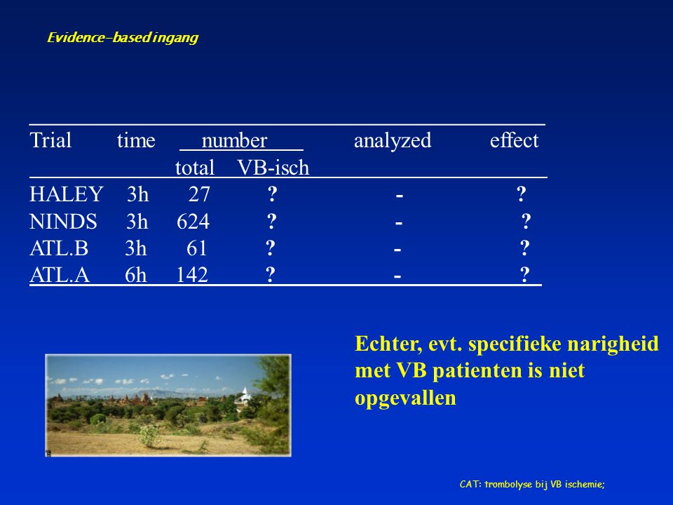 Evidence-based ingang CAT: trombolyse bij VB ischemie; ______________________________________________ Trial time number analyzed effect total VB-isch