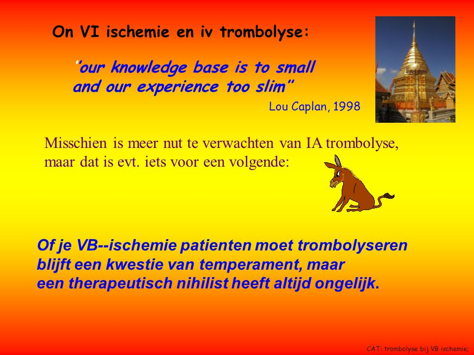 ''our knowledge base is to small and our experience too slim'' Lou Caplan, 1998 On VI ischemie en iv trombolyse: Misschien is meer nut te verwachten v
