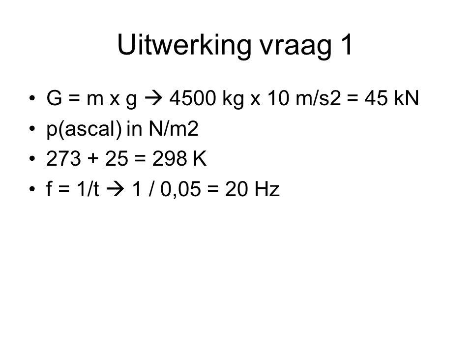 Uitwerking vraag 1 G = m x g  4500 kg x 10 m/s2 = 45 kN p(ascal) in N/m2 273 + 25 = 298 K f = 1/t  1 / 0,05 = 20 Hz