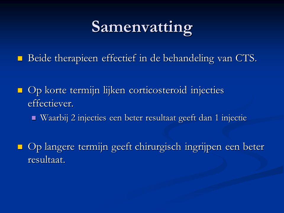 Samenvatting Beide therapieen effectief in de behandeling van CTS. Beide therapieen effectief in de behandeling van CTS. Op korte termijn lijken corti