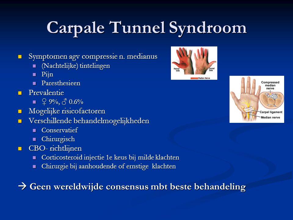 Carpale Tunnel Syndroom Symptomen agv compressie n. medianus Symptomen agv compressie n. medianus (Nachtelijke) tintelingen (Nachtelijke) tintelingen