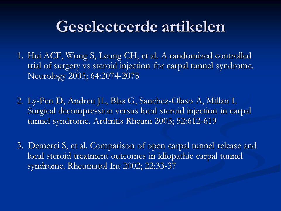 Geselecteerde artikelen 1.Hui ACF, Wong S, Leung CH, et al.