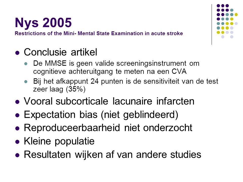 Nys 2005 Restrictions of the Mini- Mental State Examination in acute stroke Conclusie artikel De MMSE is geen valide screeningsinstrument om cognitieve achteruitgang te meten na een CVA Bij het afkappunt 24 punten is de sensitiviteit van de test zeer laag (35%) Vooral subcorticale lacunaire infarcten Expectation bias (niet geblindeerd) Reproduceerbaarheid niet onderzocht Kleine populatie Resultaten wijken af van andere studies