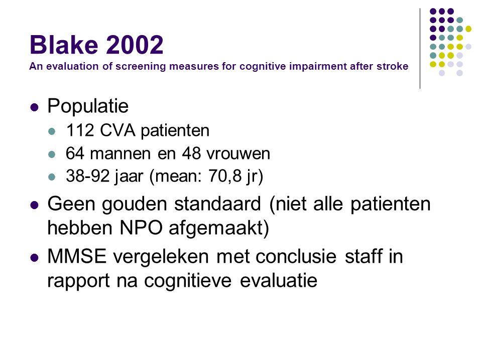 Blake 2002 An evaluation of screening measures for cognitive impairment after stroke Populatie 112 CVA patienten 64 mannen en 48 vrouwen 38-92 jaar (mean: 70,8 jr) Geen gouden standaard (niet alle patienten hebben NPO afgemaakt) MMSE vergeleken met conclusie staff in rapport na cognitieve evaluatie