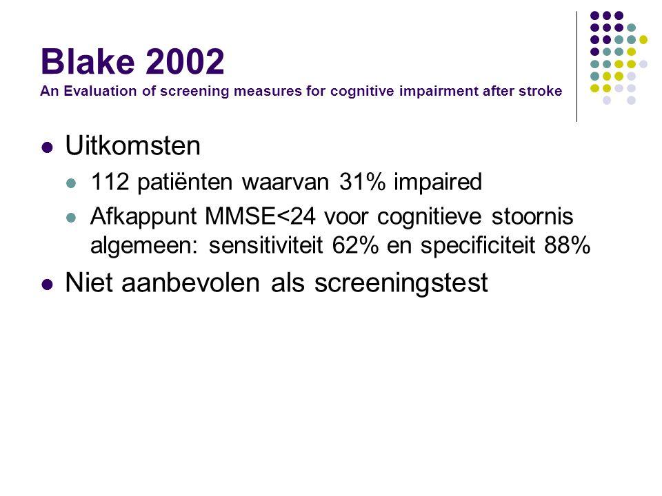 Blake 2002 An Evaluation of screening measures for cognitive impairment after stroke Uitkomsten 112 patiënten waarvan 31% impaired Afkappunt MMSE<24 voor cognitieve stoornis algemeen: sensitiviteit 62% en specificiteit 88% Niet aanbevolen als screeningstest
