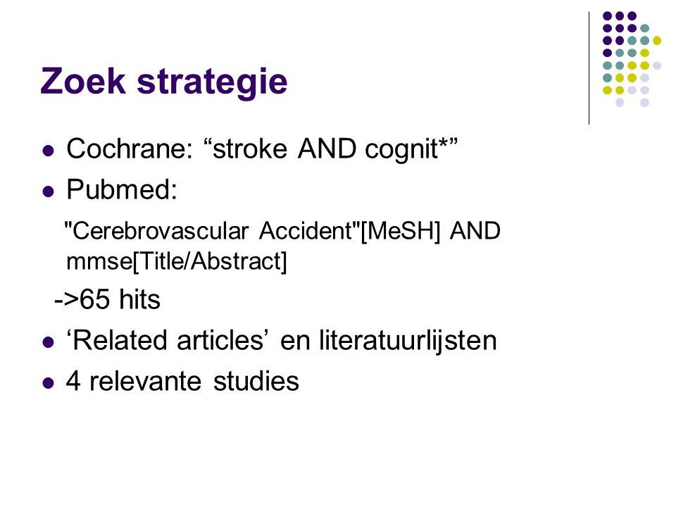"""Zoek strategie Cochrane: """"stroke AND cognit*"""" Pubmed:"""