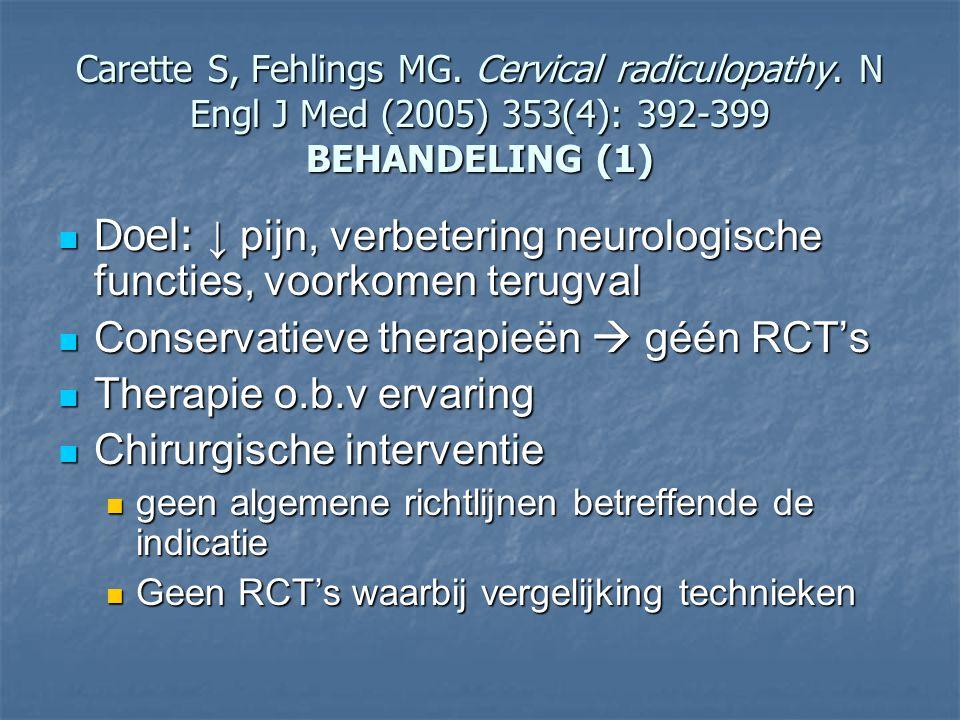 Carette S, Fehlings MG. Cervical radiculopathy. N Engl J Med (2005) 353(4): 392-399 BEHANDELING (1) Doel: ↓ pijn, verbetering neurologische functies,