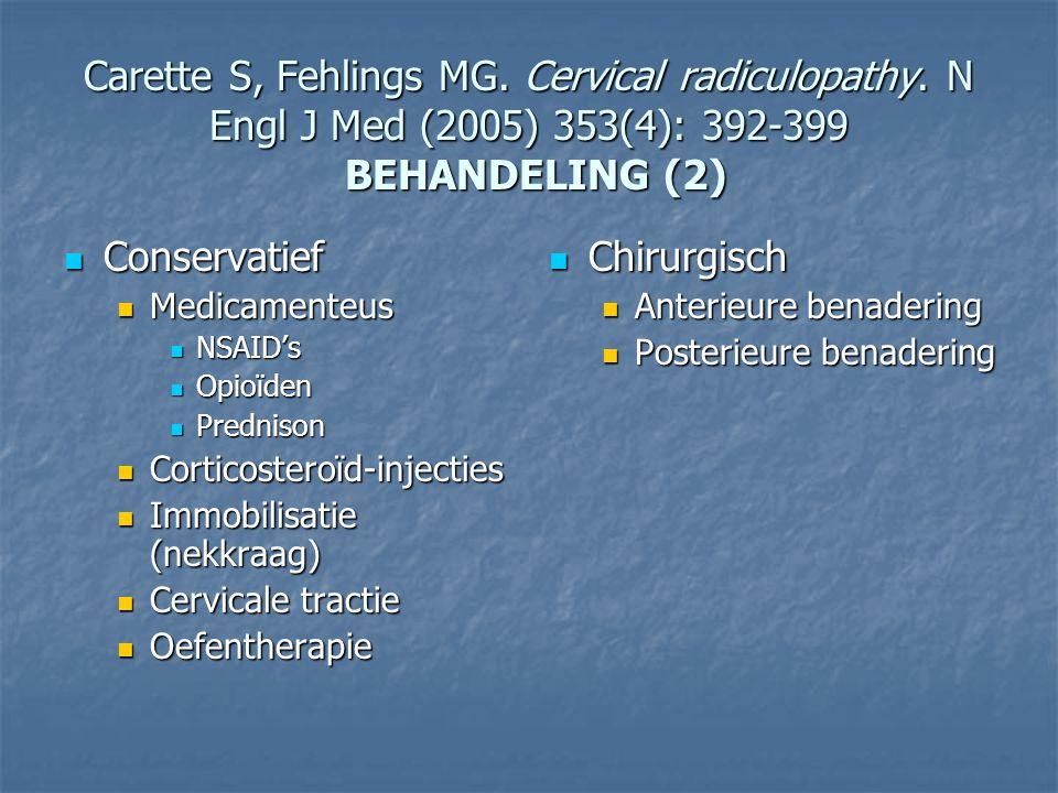 Carette S, Fehlings MG. Cervical radiculopathy. N Engl J Med (2005) 353(4): 392-399 BEHANDELING (2) Conservatief Conservatief Medicamenteus Medicament
