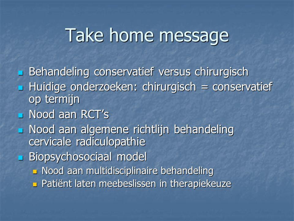 Take home message Behandeling conservatief versus chirurgisch Behandeling conservatief versus chirurgisch Huidige onderzoeken: chirurgisch = conservat