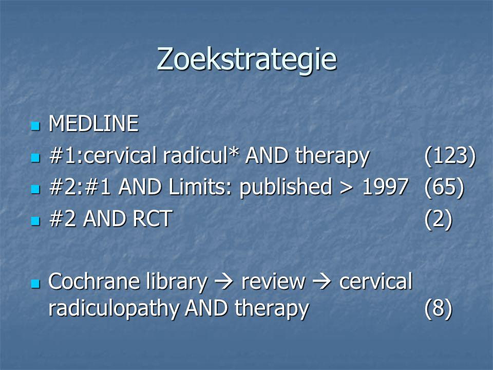 Zoekstrategie MEDLINE MEDLINE #1:cervical radicul* AND therapy(123) #1:cervical radicul* AND therapy(123) #2:#1 AND Limits: published > 1997(65) #2:#1