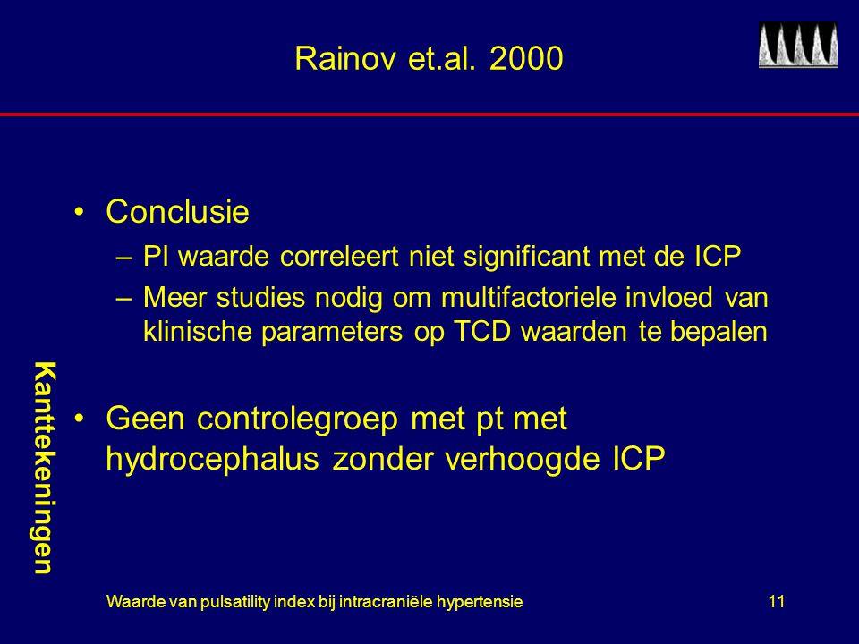 Waarde van pulsatility index bij intracraniële hypertensie11 Rainov et.al. 2000 Conclusie –PI waarde correleert niet significant met de ICP –Meer stud