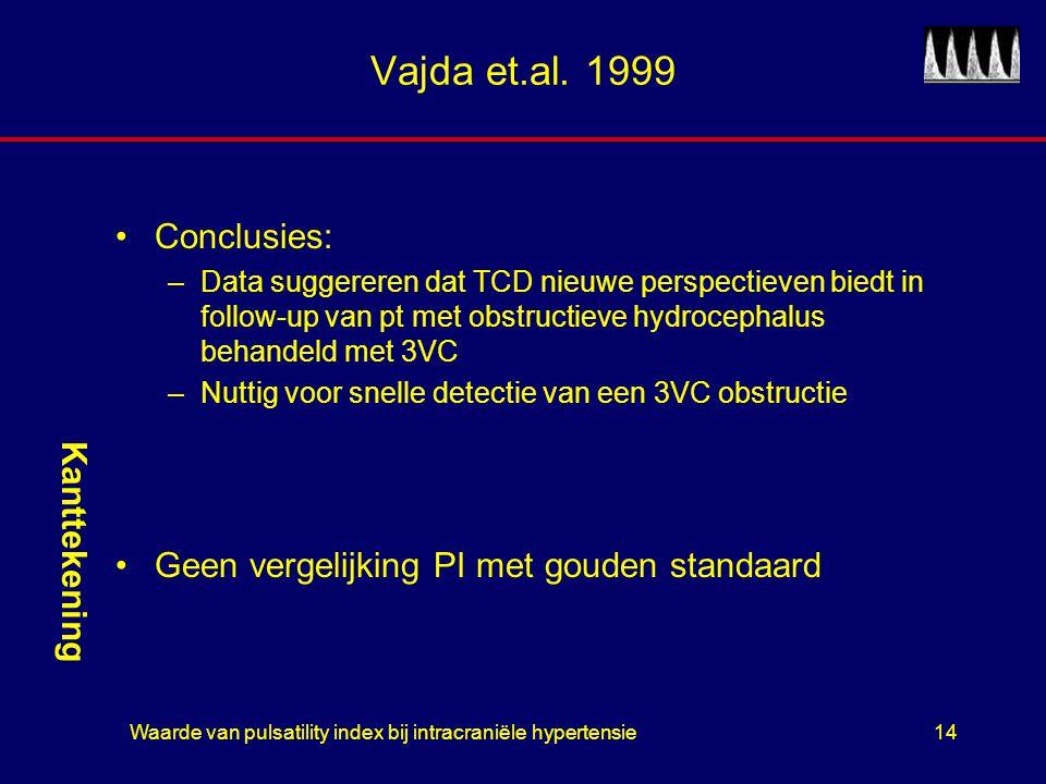 Waarde van pulsatility index bij intracraniële hypertensie14 Vajda et.al. 1999 Conclusies: –Data suggereren dat TCD nieuwe perspectieven biedt in foll