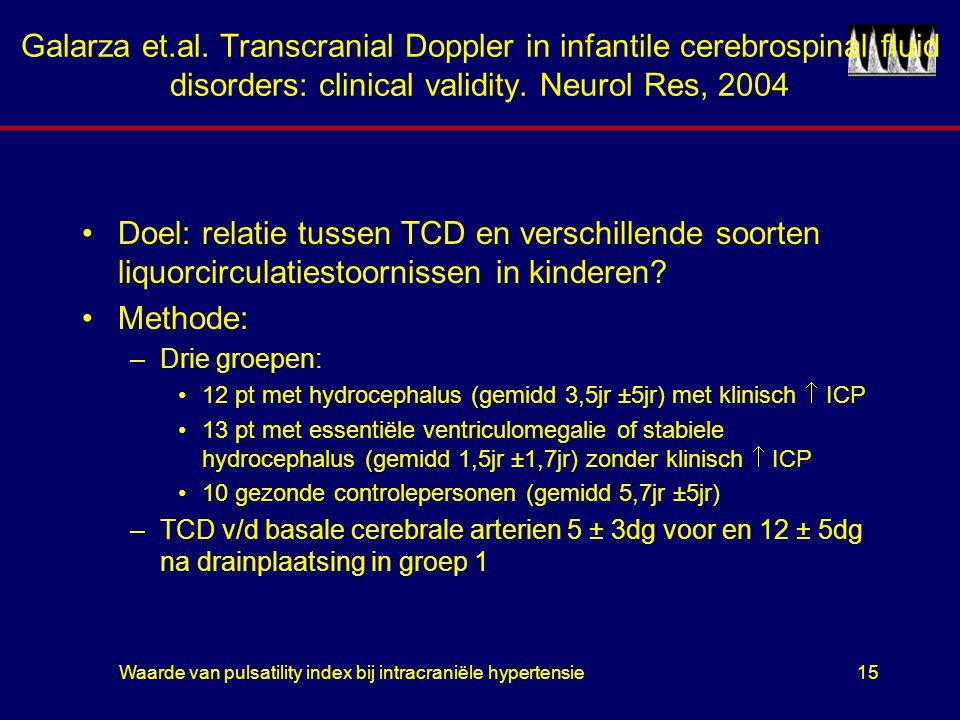 Waarde van pulsatility index bij intracraniële hypertensie15 Galarza et.al. Transcranial Doppler in infantile cerebrospinal fluid disorders: clinical