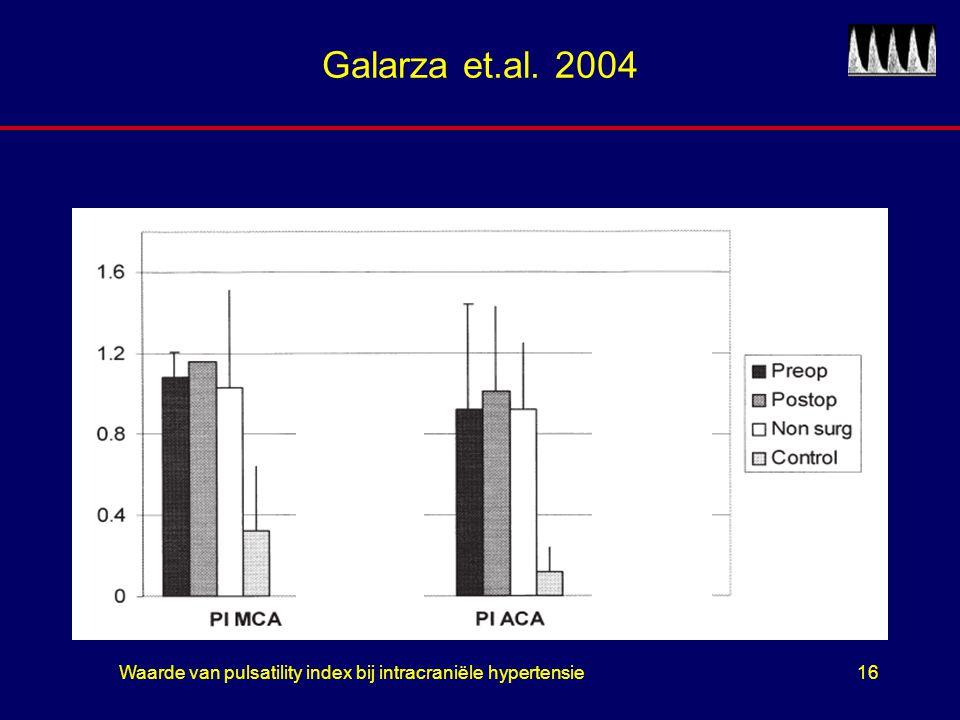 Waarde van pulsatility index bij intracraniële hypertensie16 Galarza et.al. 2004