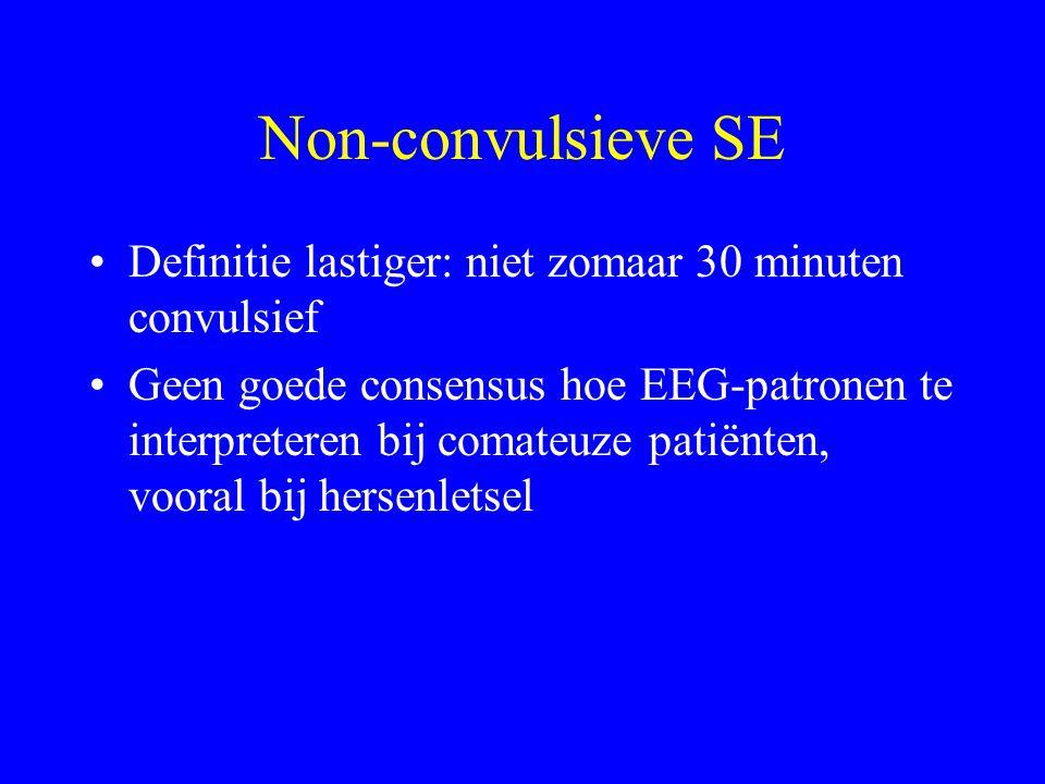 Status Epilepticus??? > 30 minuten epileptische activiteit twee of meer aanvallen zonder herstel van bewustzijn Operationele suggestie: > 5 minuten aa