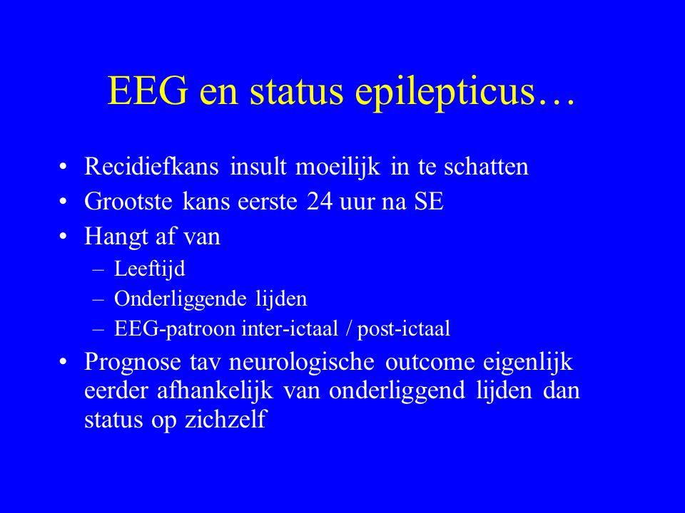 Non-convulsieve SE Definitie lastiger: niet zomaar 30 minuten convulsief Geen goede consensus hoe EEG-patronen te interpreteren bij comateuze patiënte