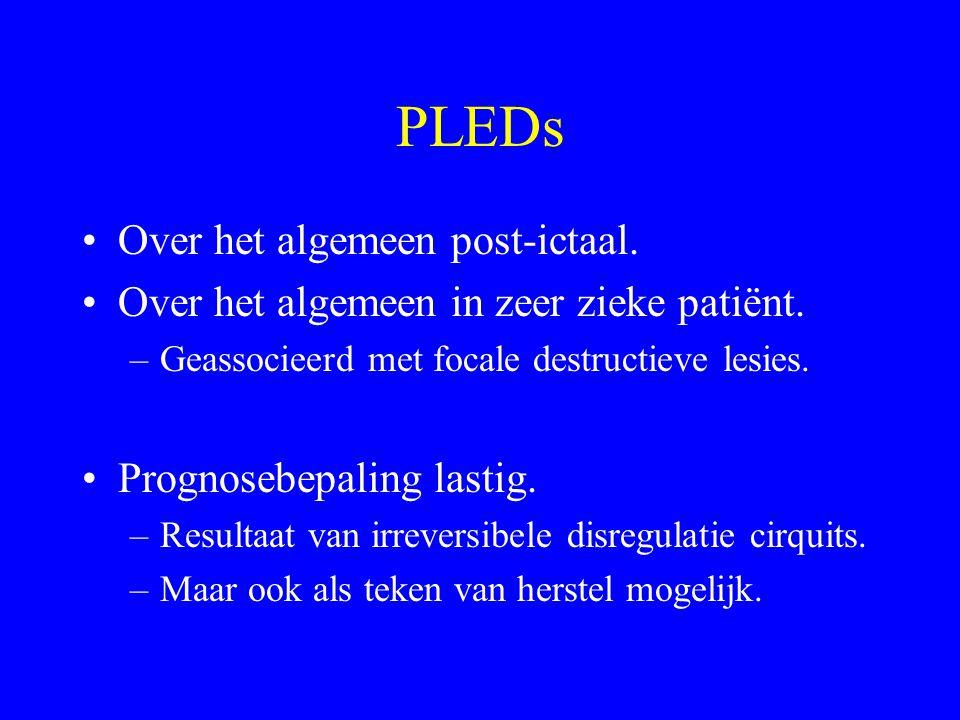 EEG en status epilepticus… Recidiefkans insult moeilijk in te schatten Grootste kans eerste 24 uur na SE Hangt af van –Leeftijd –Onderliggende lijden
