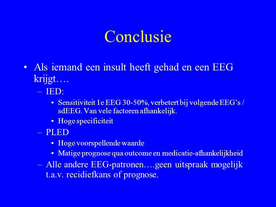 PLEDs Soms ictaal!!! –Differentiatie lastig; geen consensus. –Als verdenking op status hoog: dan benzo om te zien of patiënt klinisch verbetert. Relat