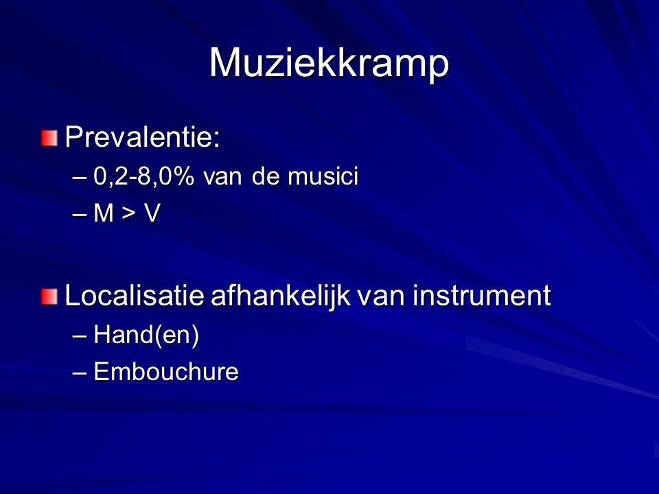 Muziekkramp Prevalentie: –0,2-8,0% van de musici –M > V Localisatie afhankelijk van instrument –Hand(en) –Embouchure