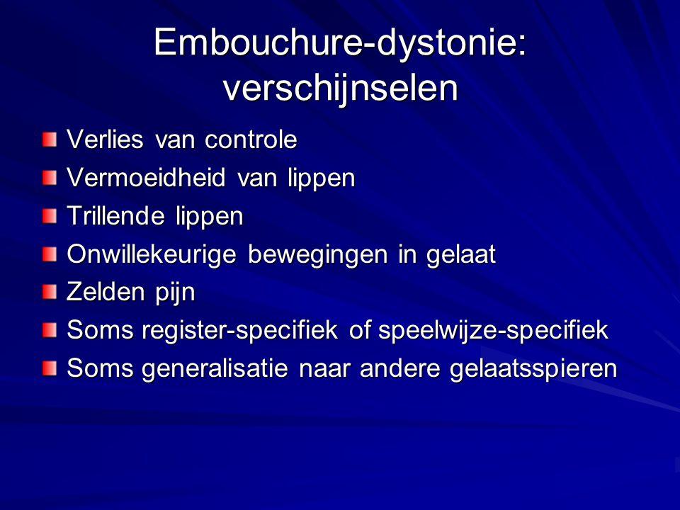Embouchure-dystonie: verschijnselen Verlies van controle Vermoeidheid van lippen Trillende lippen Onwillekeurige bewegingen in gelaat Zelden pijn Soms