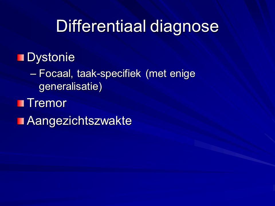 Differentiaal diagnose Dystonie –Focaal, taak-specifiek (met enige generalisatie) TremorAangezichtszwakte