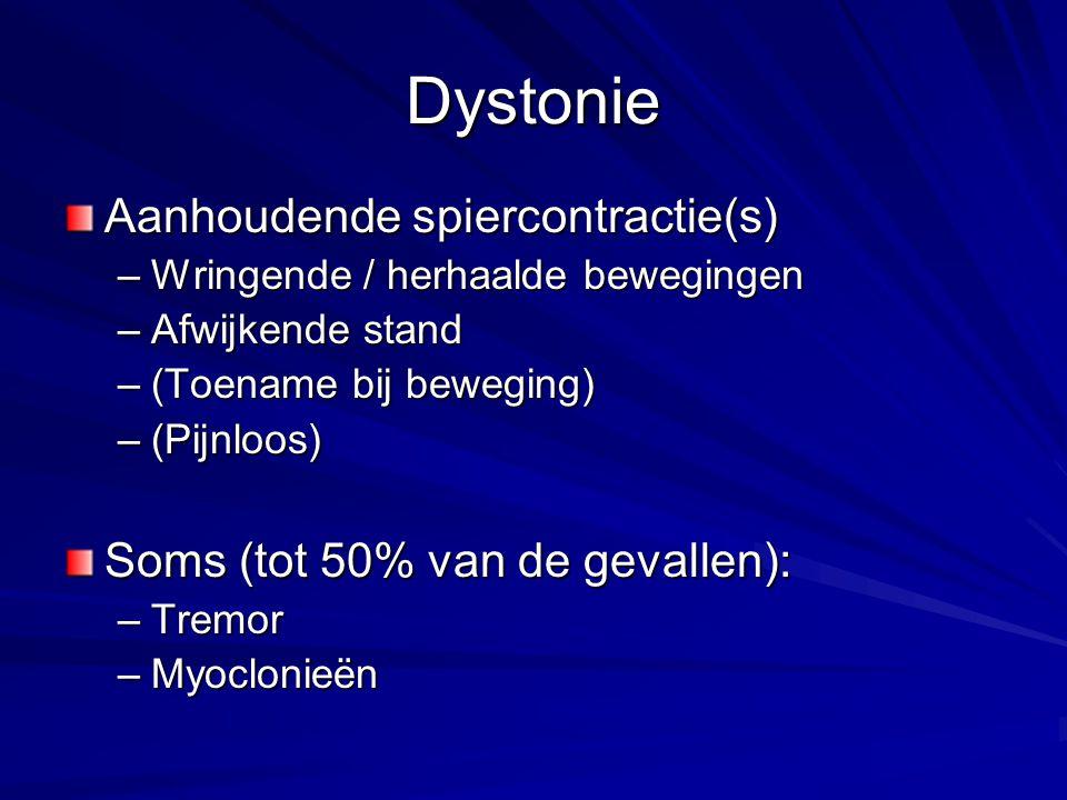 Dystonie Aanhoudende spiercontractie(s) –Wringende / herhaalde bewegingen –Afwijkende stand –(Toename bij beweging) –(Pijnloos) Soms (tot 50% van de g