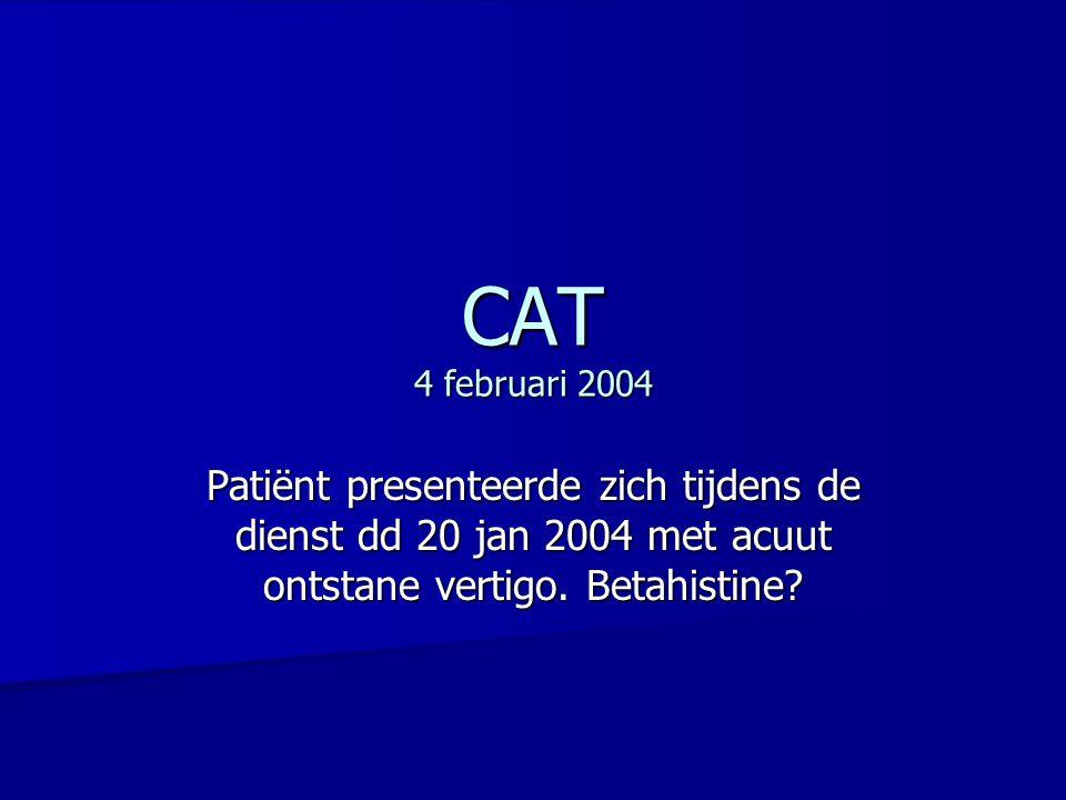 Vraagstelling: Vraagstelling: Is betahistine een zinvolle therapie bij perifeer vestibulair syndroom.