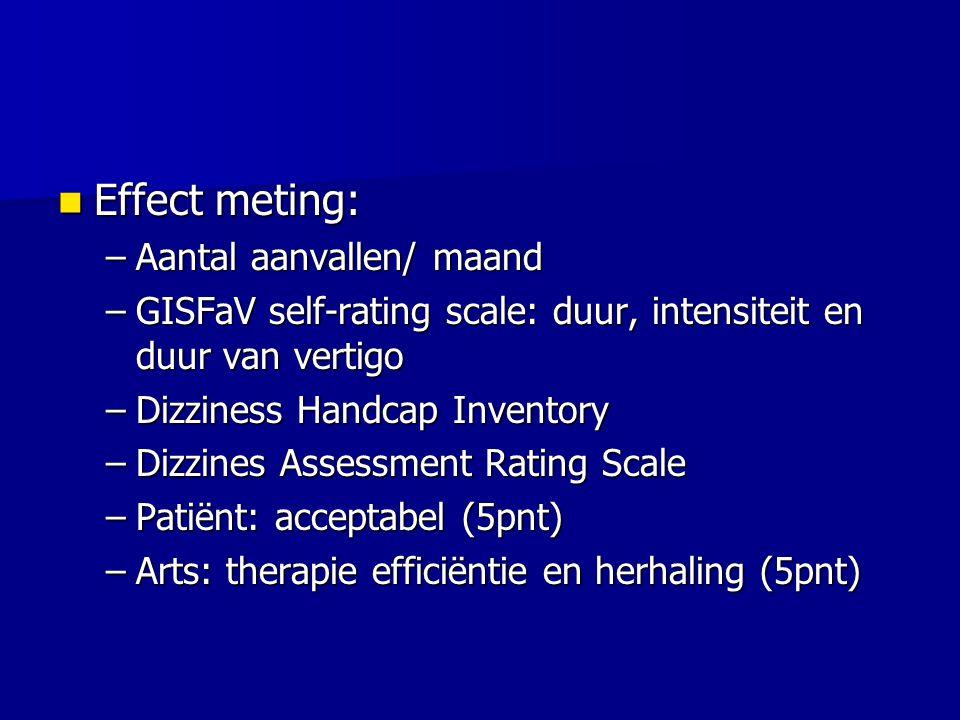 Effect meting: Effect meting: –Aantal aanvallen/ maand –GISFaV self-rating scale: duur, intensiteit en duur van vertigo –Dizziness Handcap Inventory –Dizzines Assessment Rating Scale –Patiënt: acceptabel (5pnt) –Arts: therapie efficiëntie en herhaling (5pnt)