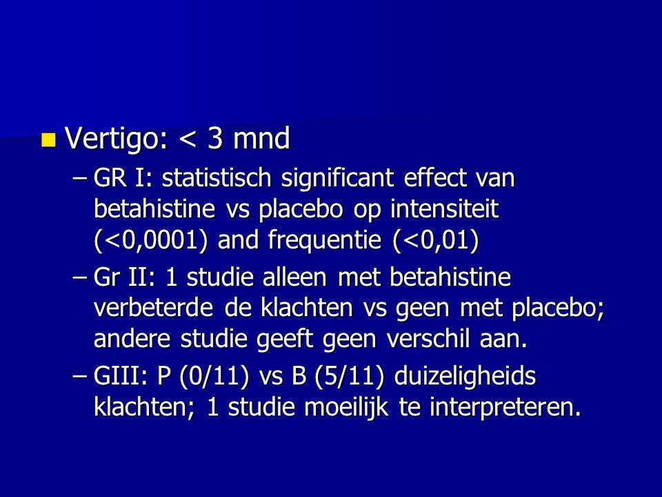 Vertigo: < 3 mnd Vertigo: < 3 mnd –GR I: statistisch significant effect van betahistine vs placebo op intensiteit (<0,0001) and frequentie (<0,01) –Gr II: 1 studie alleen met betahistine verbeterde de klachten vs geen met placebo; andere studie geeft geen verschil aan.