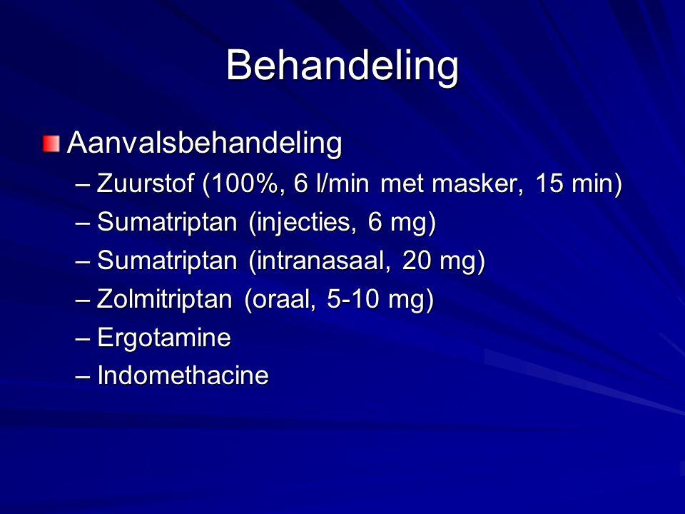 Behandeling Aanvalsbehandeling –Zuurstof (100%, 6 l/min met masker, 15 min) –Sumatriptan (injecties, 6 mg) –Sumatriptan (intranasaal, 20 mg) –Zolmitri