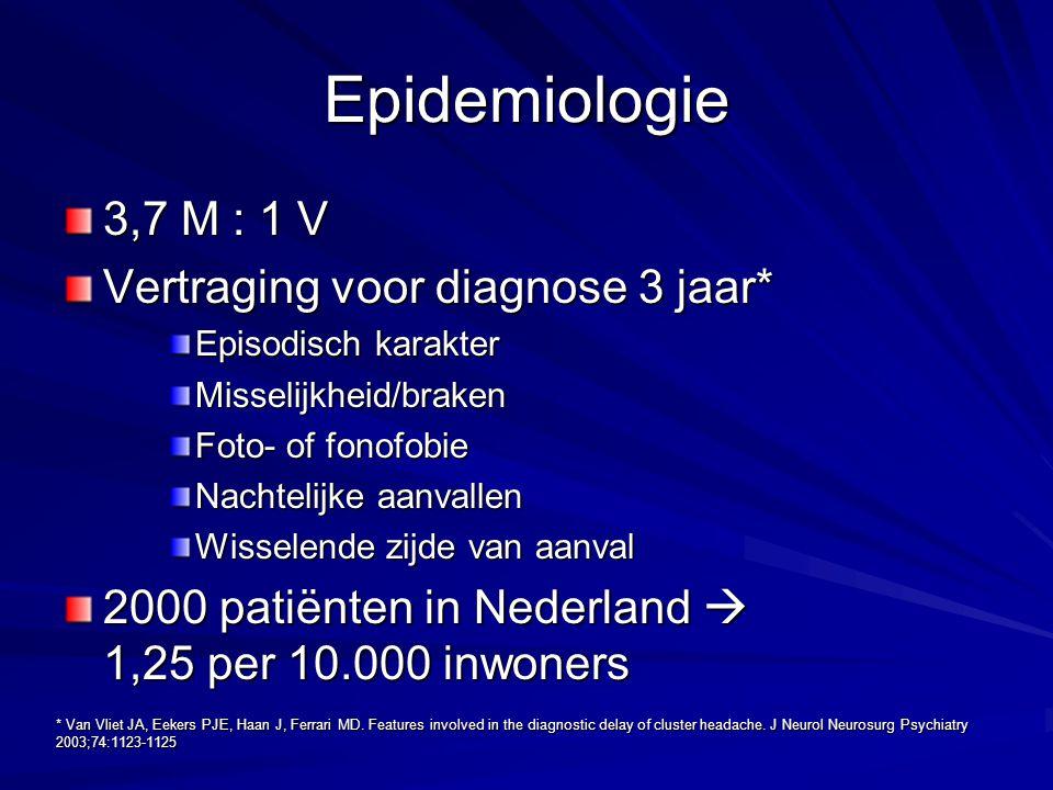 Behandeling Prophylaxe –Methysergide 3-6 mg per dag, alleen bij episodische clusterhoofdpijn –Ergotamine Methylergonovine, 4 maal daags 0,2 mg –Valproaat 500-2000 mg per dag –Pizotifeen Tot 1,5 mg per dag