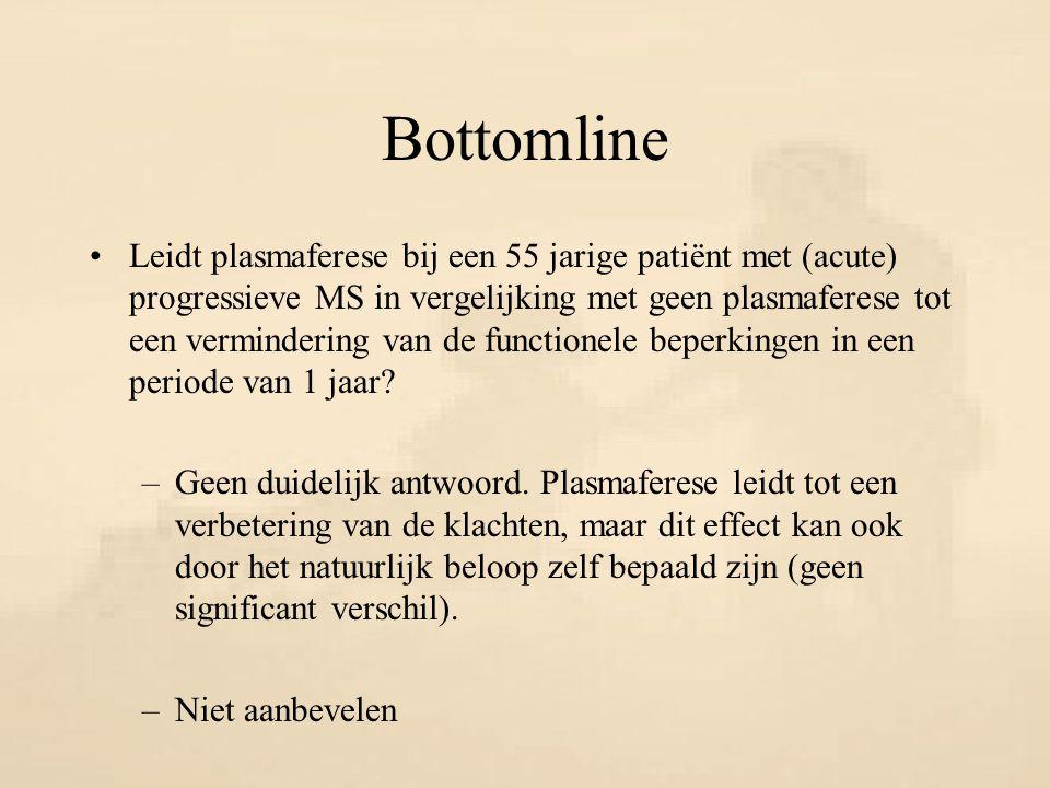 Bottomline Leidt plasmaferese bij een 55 jarige patiënt met (acute) progressieve MS in vergelijking met geen plasmaferese tot een vermindering van de