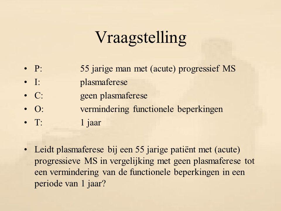 Vraagstelling P:55 jarige man met (acute) progressief MS I:plasmaferese C:geen plasmaferese O:vermindering functionele beperkingen T:1 jaar Leidt plas