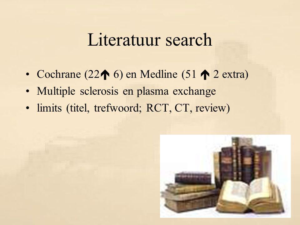 Literatuur search Cochrane (22  6) en Medline (51  2 extra) Multiple sclerosis en plasma exchange limits (titel, trefwoord; RCT, CT, review)