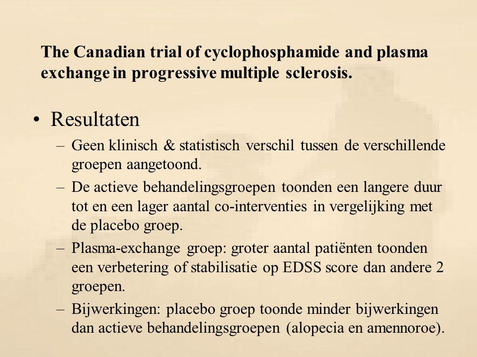 The Canadian trial of cyclophosphamide and plasma exchange in progressive multiple sclerosis. Resultaten –Geen klinisch & statistisch verschil tussen