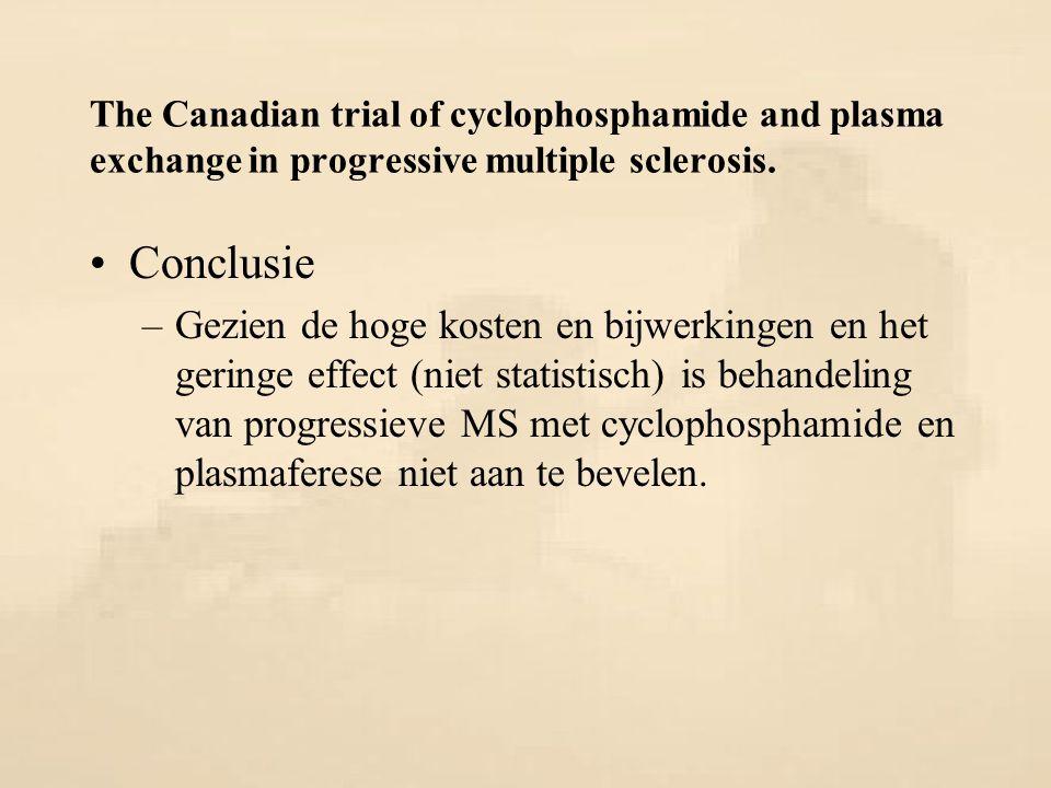 The Canadian trial of cyclophosphamide and plasma exchange in progressive multiple sclerosis. Conclusie –Gezien de hoge kosten en bijwerkingen en het