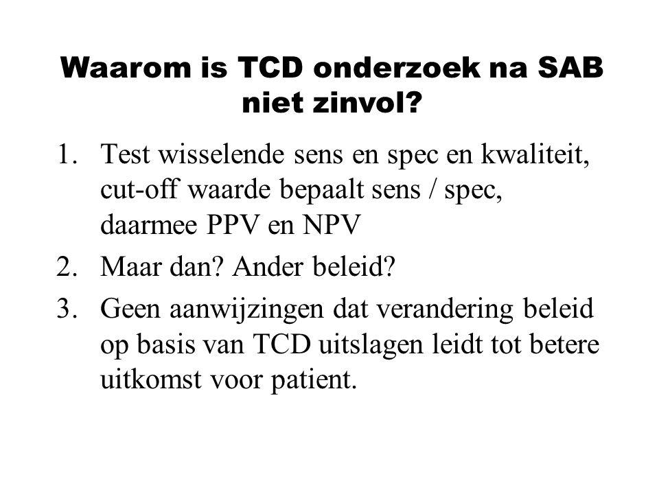 1.Test wisselende sens en spec en kwaliteit, cut-off waarde bepaalt sens / spec, daarmee PPV en NPV 2.Maar dan? Ander beleid? 3.Geen aanwijzingen dat