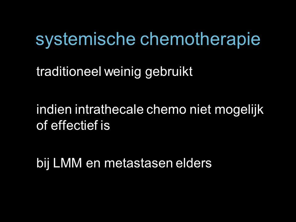 systemische chemotherapie traditioneel weinig gebruikt indien intrathecale chemo niet mogelijk of effectief is bij LMM en metastasen elders