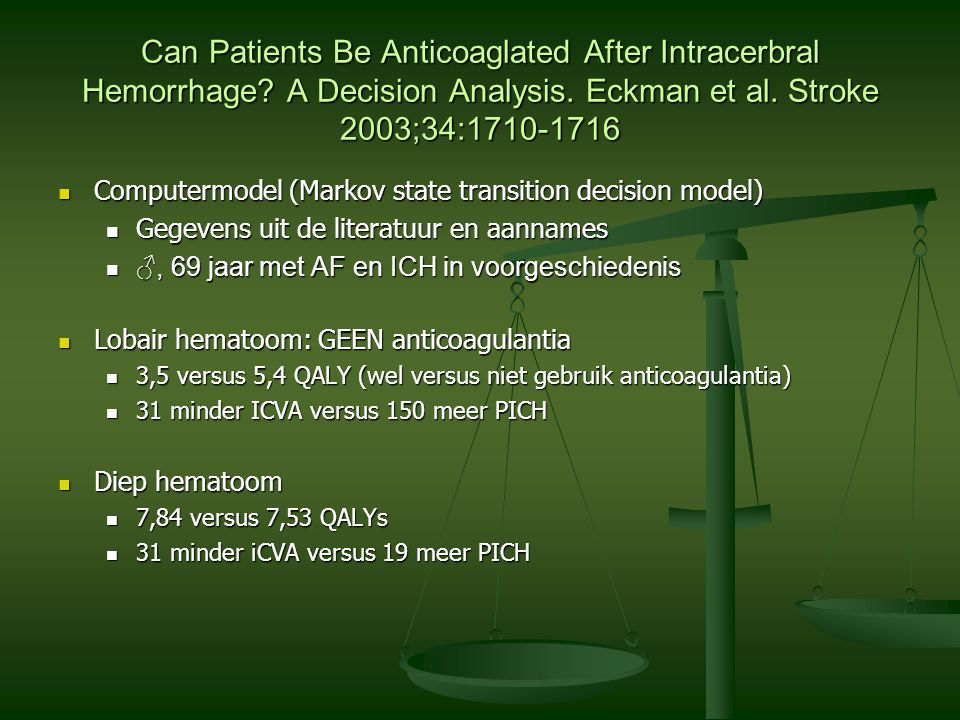 Can Patients Be Anticoaglated After Intracerbral Hemorrhage? A Decision Analysis. Eckman et al. Stroke 2003;34:1710-1716 Computermodel (Markov state t