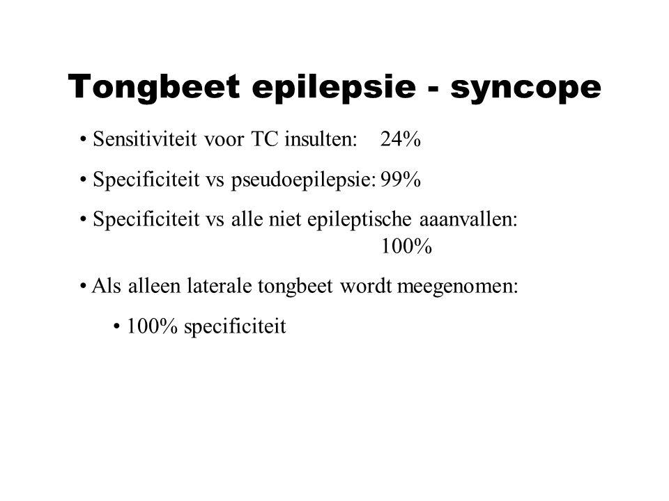 Sensitiviteit voor TC insulten:24% Specificiteit vs pseudoepilepsie:99% Specificiteit vs alle niet epileptische aaanvallen: 100% Als alleen laterale t