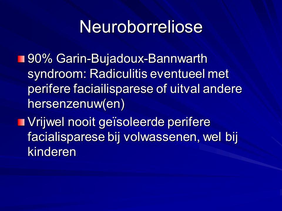 Neuroborreliose 90% Garin-Bujadoux-Bannwarth syndroom: Radiculitis eventueel met perifere faciailisparese of uitval andere hersenzenuw(en) Vrijwel noo