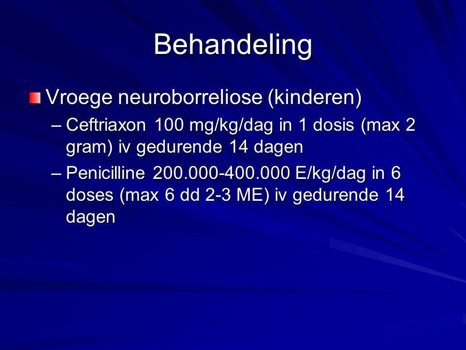 Behandeling Vroege neuroborreliose (kinderen) –Ceftriaxon 100 mg/kg/dag in 1 dosis (max 2 gram) iv gedurende 14 dagen –Penicilline 200.000-400.000 E/k