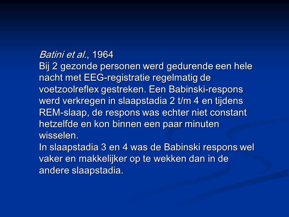 Batini et al., 1964 Bij 2 gezonde personen werd gedurende een hele nacht met EEG-registratie regelmatig de voetzoolreflex gestreken.