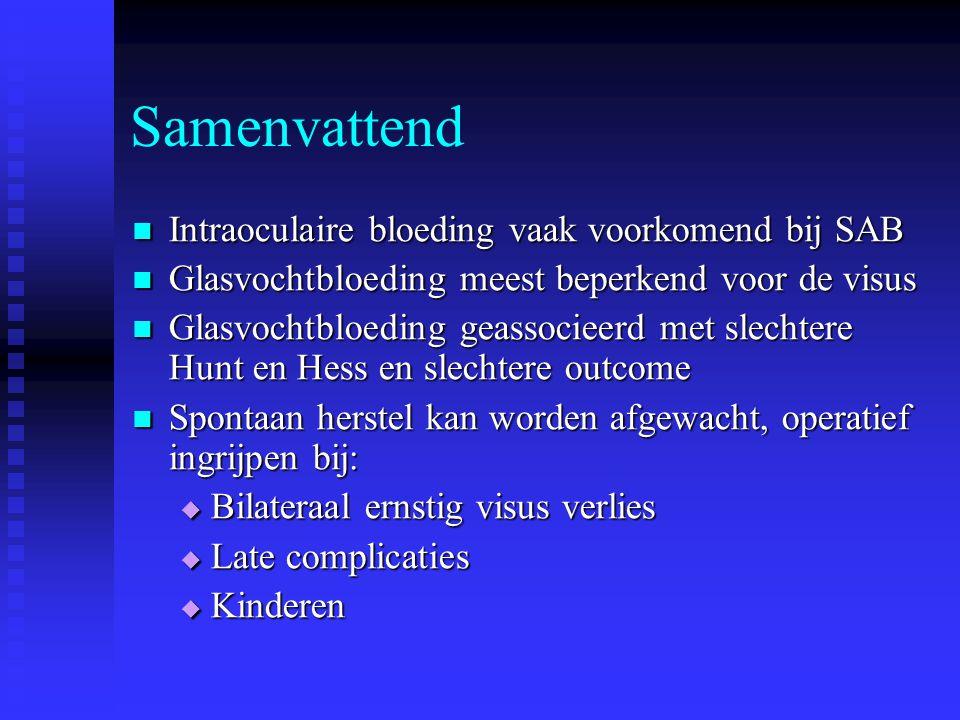 Samenvattend Intraoculaire bloeding vaak voorkomend bij SAB Intraoculaire bloeding vaak voorkomend bij SAB Glasvochtbloeding meest beperkend voor de v