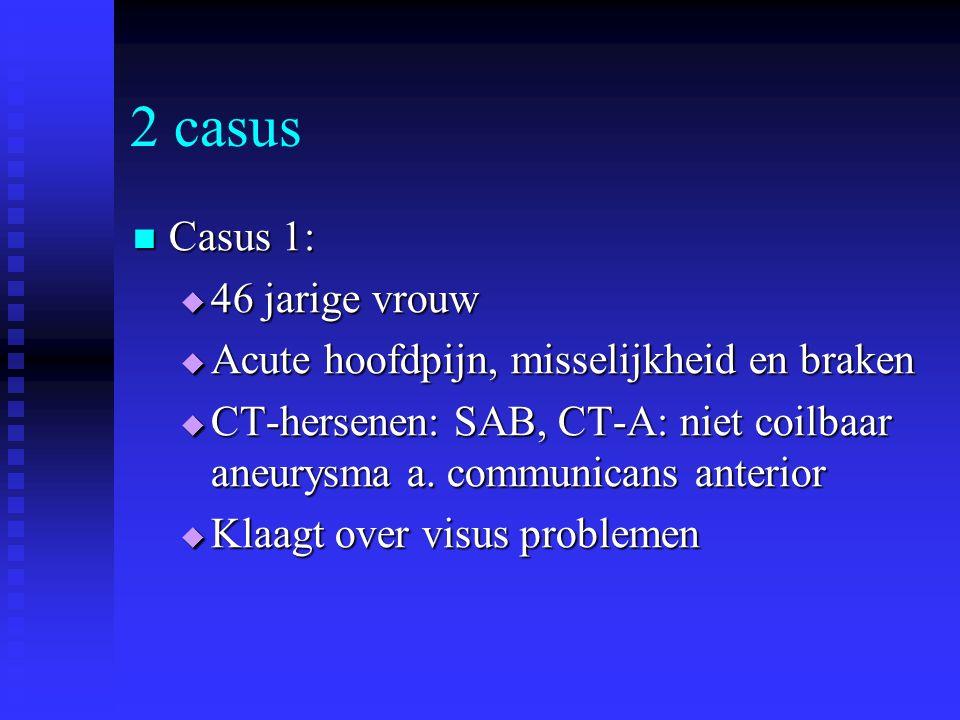 2 casus Casus 1: Casus 1:  46 jarige vrouw  Acute hoofdpijn, misselijkheid en braken  CT-hersenen: SAB, CT-A: niet coilbaar aneurysma a. communican