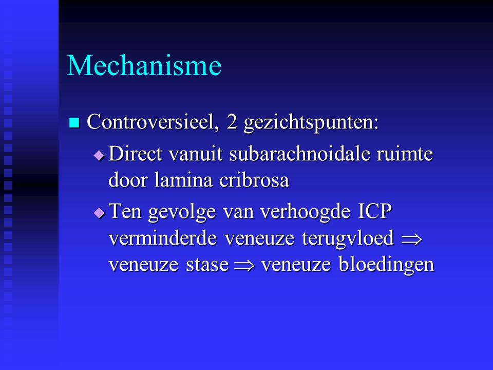 Mechanisme Controversieel, 2 gezichtspunten: Controversieel, 2 gezichtspunten:  Direct vanuit subarachnoidale ruimte door lamina cribrosa  Ten gevol
