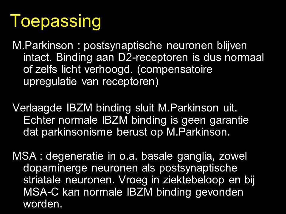 Toepassing M.Parkinson : postsynaptische neuronen blijven intact.