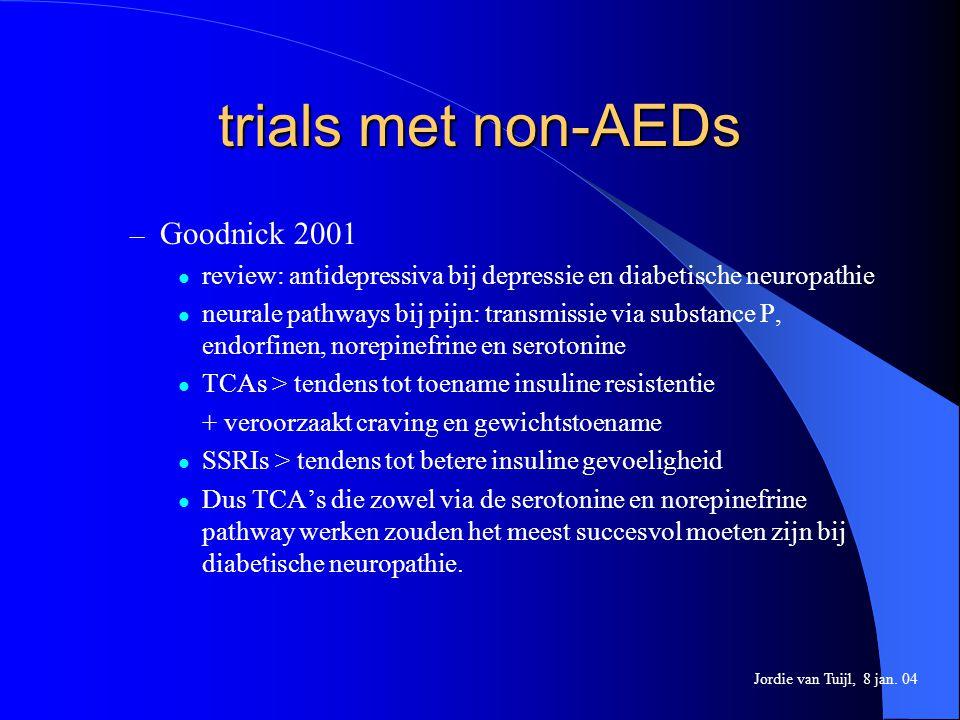 trials met non-AEDs – Goodnick 2001 review: antidepressiva bij depressie en diabetische neuropathie neurale pathways bij pijn: transmissie via substan