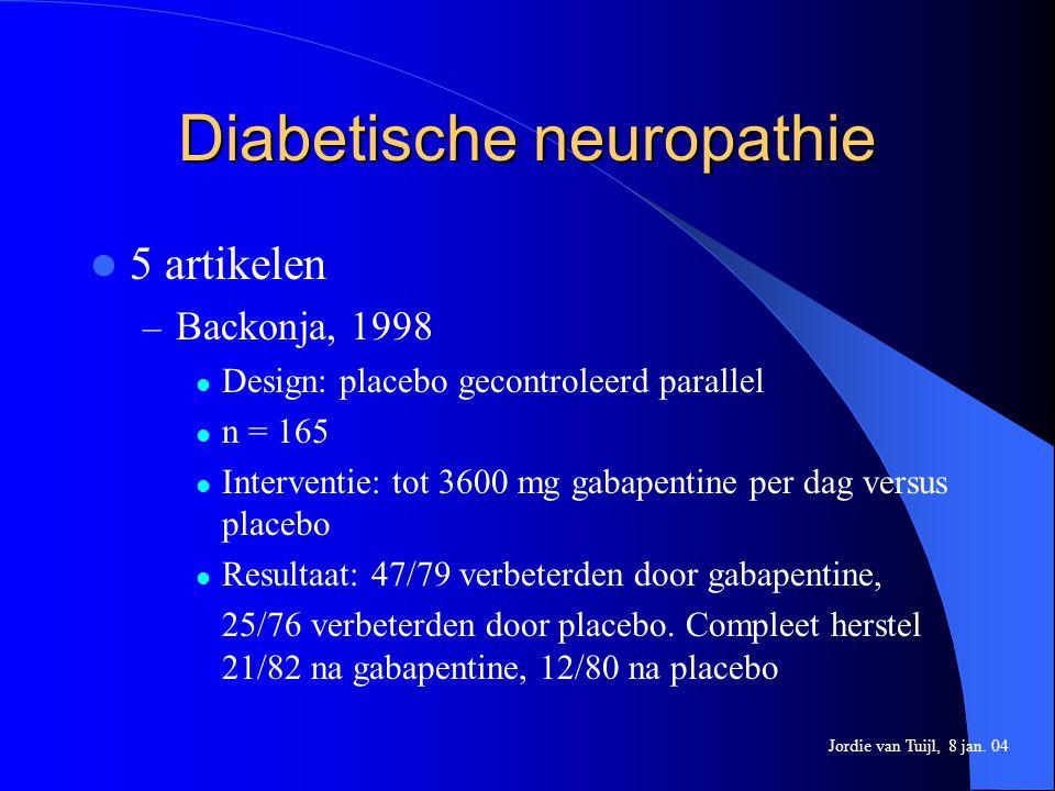 Diabetische neuropathie 5 artikelen – Backonja, 1998 Design: placebo gecontroleerd parallel n = 165 Interventie: tot 3600 mg gabapentine per dag versu